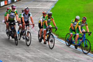 Four tandems on the track at Unanderra Velodrome